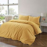 Luxury Soft 100% Pure Natural Cotton Linen Banana Yellow Duvet Cover Bedding Set