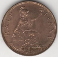 1929 George V Halfpenny Coin | British Coins | Pennies2Pounds