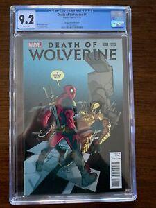 Death of Wolverine #1 CGC 9.2 (Marvel 2014)  Deadpool Variant Cover!