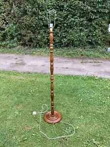 Vintage Mahogany Oak Wooden Floor Standard Lamp Turned Round Base Hallway Lounge