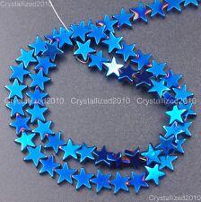 Natural Hematite Gemstone Flat Star Beads 6mm 8mm 10mm Black Silver Gold 16
