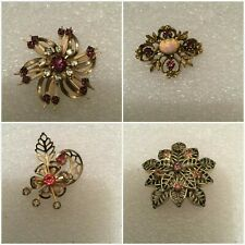Vintage Pink Clear Pastel Crystal Rhinestone Gold-tone Brooch Jewelry Lot