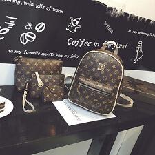 4 Pcs New Women Brown Leather Shoulder Bags Backpack Laptop Bag School Bag Purse