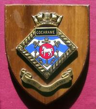 Vintage HMS Cochrane Painted Royal Navy Ship Badge Crest Shield Plaque b
