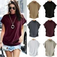 Women's Short Sleeve T-Shirt Blouse Summer Turtle Neck Tops Tee Shirts Casual