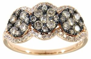 Diamond Dark Brown Cocktail Ring 14K Rose Gold In 0.23 CT Fine Jewelry For Women