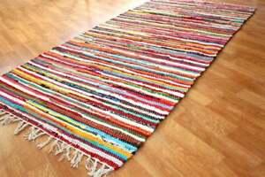 Rug 100% Recycled Cotton Handmade Indian Chindi Rag Rug Woven Floor Mat Carpet