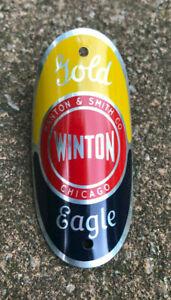 Vintage Gold Eagle Winton Bicycle Head Badge....Manton & Smith Co.