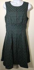 Bow & Arrow Anthropologie Navy Blue Green Grid Pattern Dress Medium New