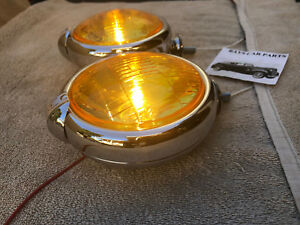NEW SMALL 6 - VOLT AMBER VINTAGE STYLE FOG LIGHTS WITH FOG CAP ON LIGHTS ! 46 49