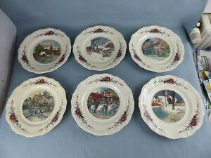 SARREGUEMINES Obernai Loux lot de 6 grandes assiettes plates différentes 25 cm C