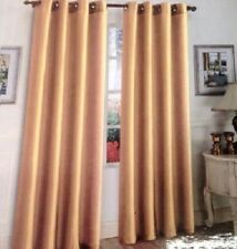 2 PANELS GROMMET FAUX SILK WINDOW CURTAINS DRAPE TREATMENT MIRA 95""