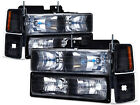 Headlights Set 8 Piece Black Fits 94-98 Chevrolet C/K 10 Pickup Tahoe Silverado