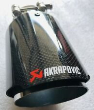 "Universal 3.5"" Akrapovic Type Carbon Fibre Exhaust Tip Tailpipe Stainless Steel"