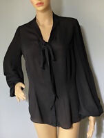 Definitions Womens Tie Neck Sheer Blouse Bell Sleeves Uk Size 10 Black Great Con