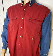 Vintage Tommy Hilfiger Denim Shirt Color Block Retro 90s Crest Logo Men Sz M