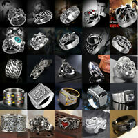 Men's Stainless Steel Gothic Punk Rings Steam Cool Band Rock  Finger Rings Gifts