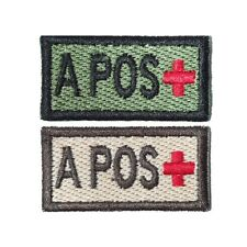 A+ A Pos Self-Adhesive Blood Patch in Olive and Tan 1x2in
