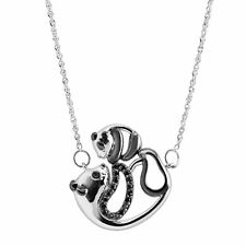 Mother & Baby Panda Necklace with Black Diamonds Sterling Silver & Black Rhodium