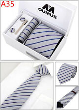 Mens Broad Silk Tie Dress Work Wedding Business Solid Color Check Pattern