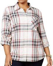 Style & Co (A21-82*) Plus Cotton Plaid Flannel Shirt Top Cabin Plaid Sz 3X $56