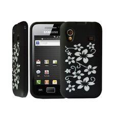 Housse étui coque silicone Samsung Galaxy Ace S5830 motif fleur noir