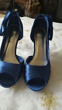"""Ladies Blue """"Sherbert"""" Open Toe Evening Court Shoes with bow detail (Size 4)"""