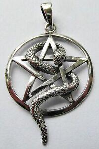 Sterling  Silver  (925)  Snake  In  Pentagram  Pendant   !!     Brand   New !!