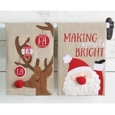 New Set of 2 Mud Pie Christmas Holiday Cable Knit Towels Santa & Reindeer Decor