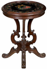 SWC-Rococo Revival Walnut Stand with Lyre on Glass, probably Southern, c.1850-60