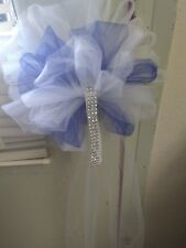 Sale 16 Wedding White And Royal Blue Tulle Pew Bows White Sheer Satin Bow&Bling