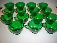 15 VINTAGE ANCHOR HOCKING EMERALD GREEN PUNCH CUPS
