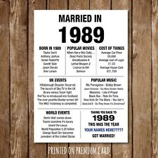 30th ANNIVERSARY Gift Poster Print MARRIED IN 1989 -2019 Edition Milestone 34