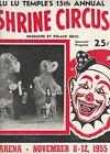 POLACK BROS.LU LU TEMPLE SHRINE CIRCUS 1955 PROGRAM,PHILADELPHIA ARENA #10864