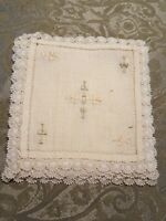 """VINTAGE ♡ SET OF 4 OFF WHITE LINEN CROCHETED AND  EMBROIDERED DOILIES 6"""" SQUARE"""