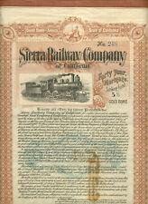 1904 SIERRA RAILWAY COMPANY OF CALIFORNIA BOND CERTIFICATE