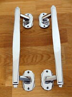PAIR OF CHROME ART DECO DOOR PULL HANDLES KNOBS PLATES FINGER PUSH