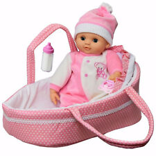 Baby Doll With Sounds & Carry Cot Bed Pillow Carry Handles Carrier Play Set