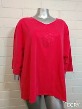 Catherines TOP Size 4X 30/32W scoop Neck Embellished cotton pinkcoral color (S4)