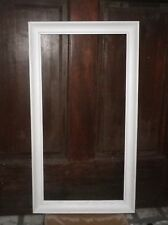 Vtg Large White Frame Long Painted Wood Wooden Beachy Chic Decor Wall Art 12x24