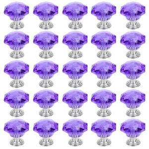 25X Crystal Diamond Dresser Knobs Drawer Pull Handle Cabinet Door Purple US ELH