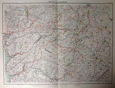 Shrewsbury Area - Antique Map c1898 Bartholomew Royal Atlas Of England & Wales