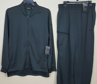 NIKE DRI-FIT BASKETBALL SUIT JACKET + PANTS GREY BLACK RARE NEW (SIZE LARGE)