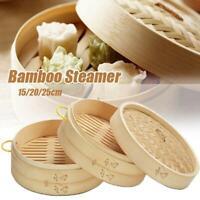 Handmade Natural Bamboo Steamer Basket Round Food Meat Steamer Lid w/Handle
