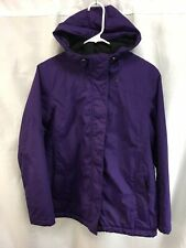 LL Bean Coat Jacket Womens Medium Petite Purple Lined Ski Parka Hooded Zipper