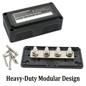 300A 4 Way Bus Bar Power Distribution Box Screw Terminal Block Heavy Duty 12-24V