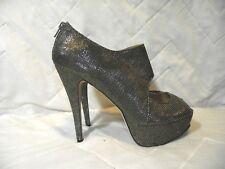 Shoedazzle Womens 10M  Gold Booties Heels Open Toe Stiletto EUC