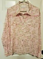 Panhandle Slim Womens Top XXL Pink Pearl Snap Rhinestones Western Floral LS