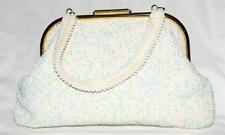 Vintage 1950s Pink Blue & White Corde Beaded Reversible Satchel Handbag