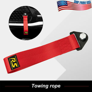 Universal Front Rear Hook Car Tow Towing Red Strap Belt Racing Sport Drift Rally